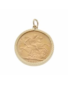 Pre-Owned 1907 Full Sovereign Coin In 9ct Gold Pendant Mount