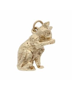 Pre-Owned 9ct Yellow Gold Solid Sitting Cat Charm Pendant