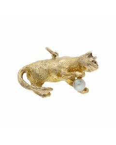 Pre-Owned 9ct Yellow Gold Solid Playing Cat & Pearl Ball Charm