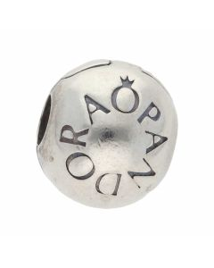 Pre-Owned Pandora Silver Branded Circle Clip Charm