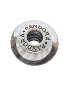 Pre-Owned Pandora Silver White Striped Bead Charm