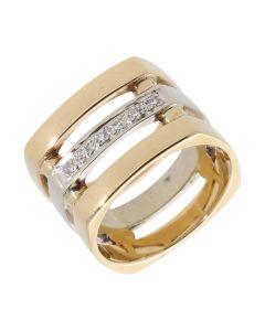 Pre-Owned 9ct Yellow & White Gold Diamond Set Triple Row Ring