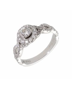 Pre-Owned 14ct White Gold 0.98 Carat Diamond Halo Ring