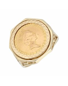 Pre-Owned 1/10 Britannia Coin In 9ct Gold Ring Mount