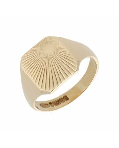 Pre-Owned 9ct Yellow Gold Sunburst Signet Ring