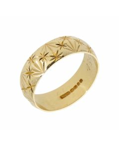 Pre-Owned 18ct Yellow Gold 6mm Patterned Wedding Band Ring