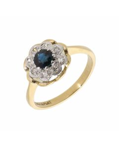 Pre-Owned 18ct Yellow Gold Sapphire & Diamond Cluster Ring