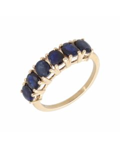 Pre-Owned 9ct Yellow Gold 6 Stone Sapphire Band Ring