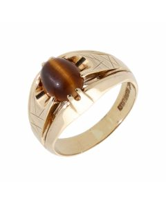 Pre-Owned 9ct Yellow Gold Tigers Eye Set Signet Ring
