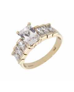 Pre-Owned 9ct Yellow Gold 7 Stone Cubic Zirconia Dress Ring