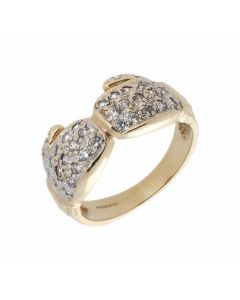 Pre-Owned 9ct Gold Cubic Zirconia Set Double Boxing Glove Ring