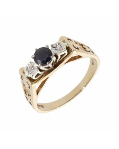 Pre-Owned 9ct Yellow Gold Sapphire & Diamond Trilogy Ring