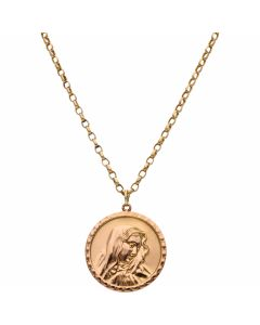 Pre-Owned 9ct Rose Gold Our Lady Pendant & Chain Necklace