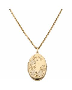 Pre-Owned 9ct Gold Pattern Oval Locket Pendant & Chain Necklace