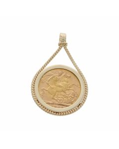 Pre-Owned 1908 Full Sovereign Coin In 9ct Gold Pendant Mount