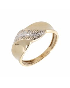 Pre-Owned 9ct Yellow Gold Diamond Set Wave Dress Ring
