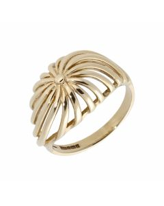 Pre-Owned 9ct Yellow Gold Cutout Domed Dress Ring