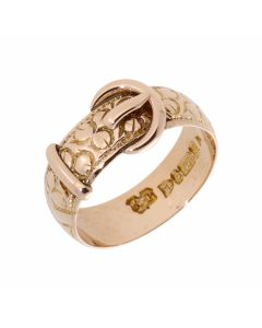 Pre-Owned 9ct Pale Rose Gold Patterned Buckle Ring