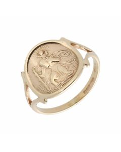 Pre-Owned 9ct Yellow Gold St.Christopher Coin Style Dress Ring