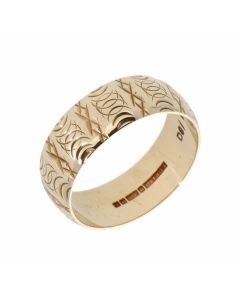Pre-Owned 9ct Yellow Gold 7mm Patterned Wedding Band Ring