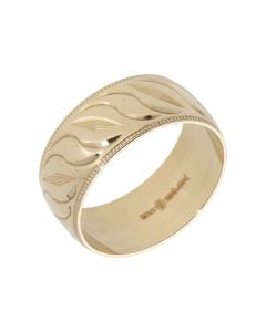Pre-Owned 9ct Yellow Gold 9mm Patterned Wedding Band Ring