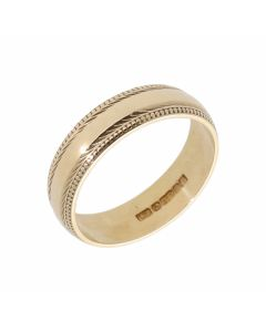 Pre-Owned 9ct Yellow Gold 5mm Beaded Edge Wedding Band Ring