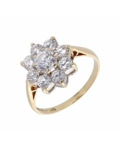 Pre-Owned 9ct Yellow Gold Cubic Zirconia Cluster Ring