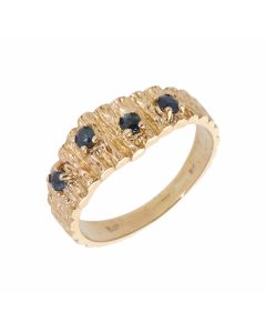 Pre-Owned 9ct Yellow Gold Topaz Set Barked Dress Ring