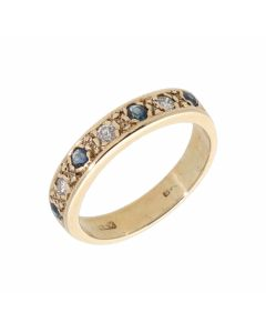 Pre-Owned 9ct Yellow Gold Sapphire & Diamond Half Eternity Ring