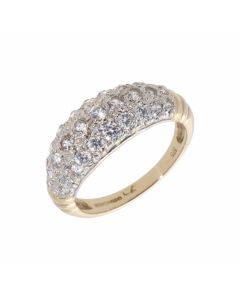 Pre-Owned 9ct Yellow Gold Cubic Zirconia Domed Dress Ring