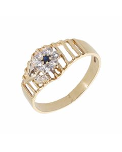 Pre-Owned 9ct Gold Sapphire & Cubic Zirconia Cluster Ring
