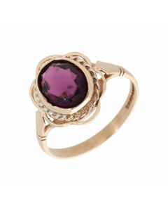Pre-Owned 9ct Yellow Gold Purple Gemstone Solitaire Dress Ring