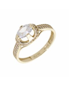 Pre-Owned 9ct Gold Cubic Zirconia Solitaire & Shoulders Ring