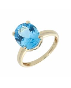 Pre-Owned 9ct Yellow Gold Oval Blue Topaz Solitaire Ring