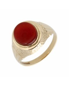 Pre-Owned 9ct Yellow Gold Oval Carnelian Signet Ring