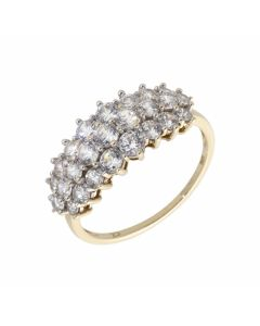 Pre-Owned 9ct Yellow Gold Triple Row Cubic Zirconia Dress Ring