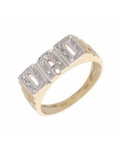 Pre-Owned 9ct Yellow Gold Cubic Zirconia Set Dad Ring