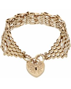 Pre-Owned 9ct Yellow Gold Kiss Link Gate Bracelet