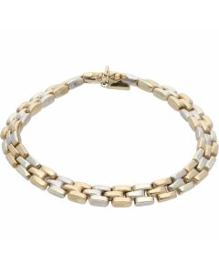 Pre-Owned 9ct Yellow & White Gold 7.2 Inch Brick Link Bracelet