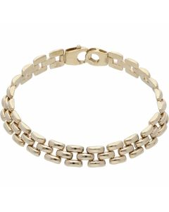 Pre-Owned 9ct Yellow Gold 7.5 Inch Hollow Brick Link Bracelet