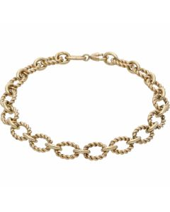 Pre-Owned 9ct Yellow Gold 7.5 Inch Oval Rope Link Bracelet