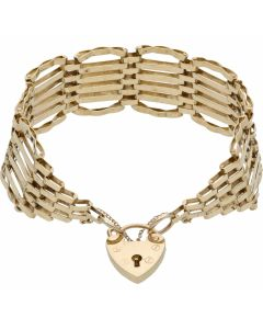 Pre-Owned 9ct Yellow Gold 6 Bar Fancy Link Gate Bracelet