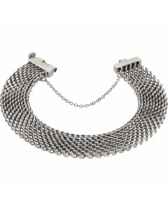 Pre-Owned 9ct White Gold 7.5 Inch Fancy Mesh Link Bracelet