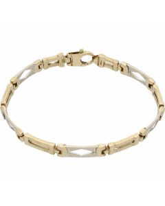 Pre-Owned 9ct Yellow & White Gold Fancy Bar Link Bracelet