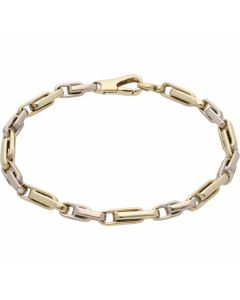 Pre-Owned 9ct Yellow & White Gold Fancy Paper Link Bracelet