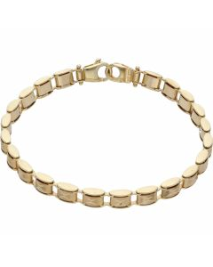 Pre-Owned 9ct Yellow Gold X Patterned Hollow Bar Link Bracelet