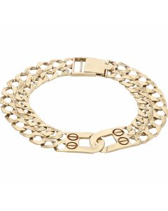 Pre-Owned 9ct Gold 8.3 Inch Double Row Curb Buckle Bracelet