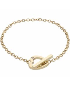 Pre-Owned 9ct Gold Diamond Set Heart T-Bar Lariat Bracelet