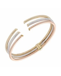 Pre-Owned 9ct Yellow Rose & White Gold Hollow Hinged Bangle