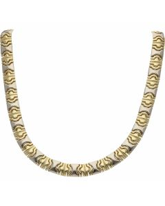Pre-Owned 9ct Yellow & White Gold 19 Inch Fancy Link Necklet
